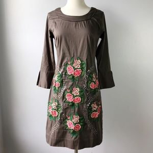 Almatrichi Gray Floral Embroidered Sequin Dress